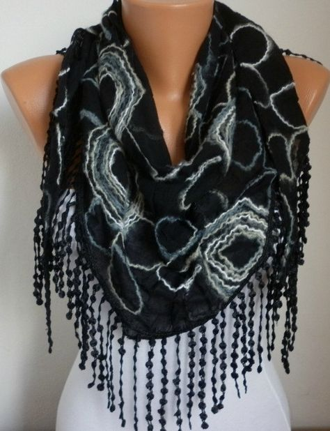 Black Scarf Shawl Cowl Scarf Gift Ideas For Her Women by anils