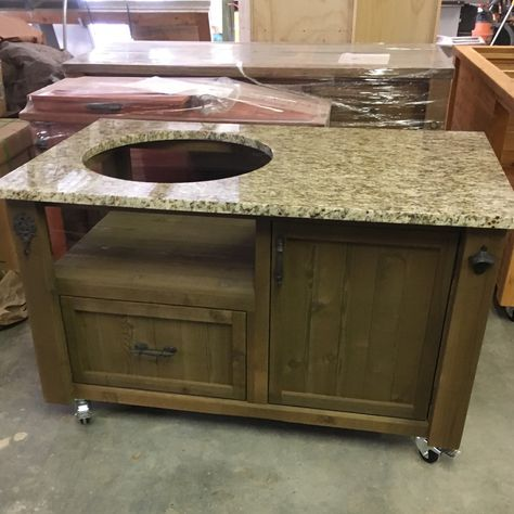 Rusticwoodworx Shared A New Photo On Etsy Grill Table Big Green Egg Table Outdoor Kitchen Design