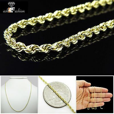 10k Yellow Gold 2 5 Mm Mens Womens Rope Chain Necklace 16 30 Inch Ebay 10k Gold Chain Chain Necklace Gold Chain Necklace