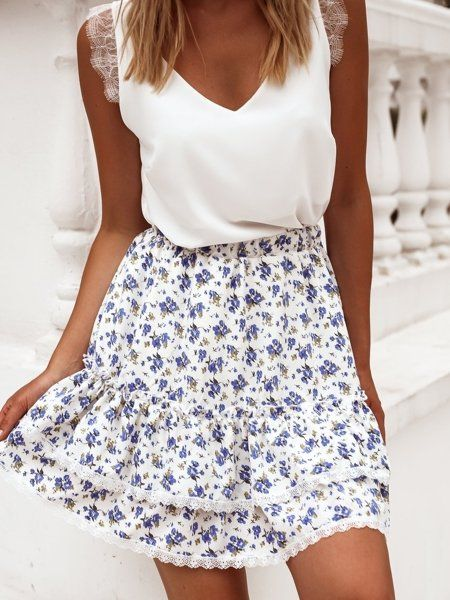 Smietankowa Spodniczka W Blekitne Kwiaty Fashion Floral Skirt Skirts