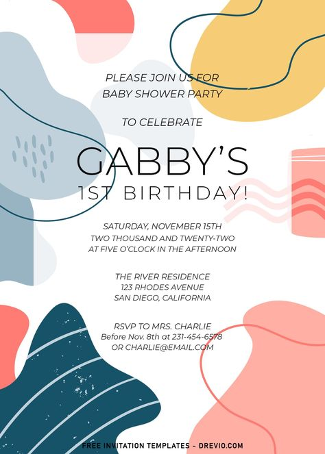 8+ Beautiful Abstract Shapes Birthday Invitation Templates