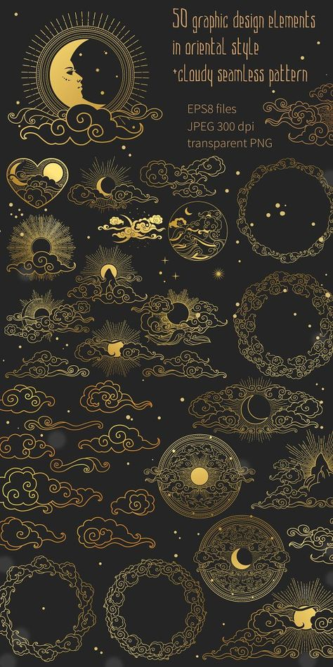 Asian graphic bundle by Peratek on Creative Market - Asian graphic bundle by Peratek on Creative Market - Cover Design, Design Art, Graphic Design, Moon Design, Art Sketches, Art Drawings, Graphic Illustration, Illustrations, Clouds Pattern