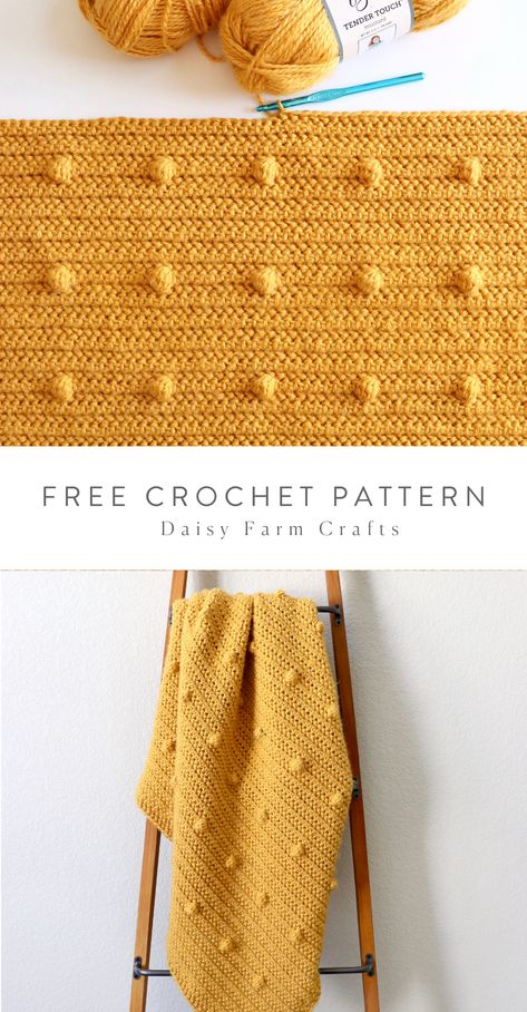 Free Pattern - Even Polka Dots Blanket Hello, Hannah here, we've made a lot of different versions of blankets with polka dots, but a few weeks ago… Crochet Kawaii, Cute Crochet, Crochet Crafts, Crochet Projects, Knit Crochet, Easy Knitting Projects, Crochet Braid, Crochet Motif, Crotchet