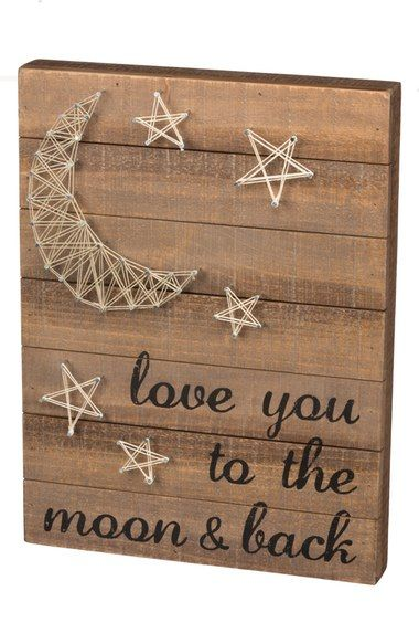 Primitives by Kathy 'Love You to the Moon & Back' String Art Box Sign…