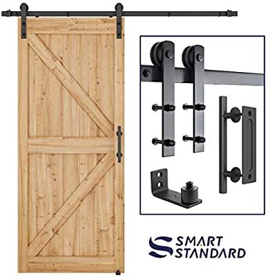 Amazon Com Smartstandard 6 6 Ft Heavy Duty Sturdy Sliding Barn Door Hardware Kit 6 6ft Double Rail B In 2020 Sliding Barn Door Hardware Barn Door Hardware Barn Door