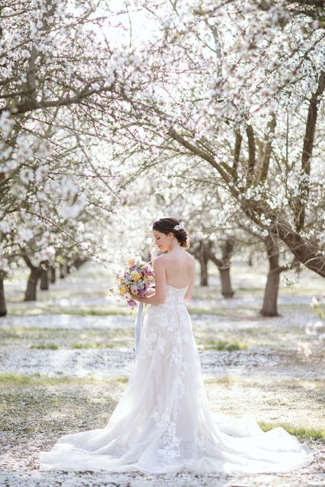 Whimsical Almond Orchard Blossom Wedding Inspiration – Playful Soul Photography 12  Blossoming orchards are the perfect backdrop for a nature-filled outdoor celebration.  #bridalmusings #bmloves #wedding #weddinginspo #weddinginspiration #blossom #orchard #outdoorwedding
