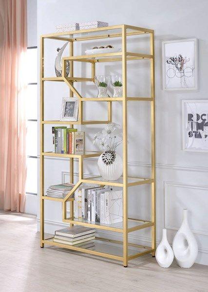 Acme Furniture Lecanga Clear Gold Bookshelf Glass Bookshelves