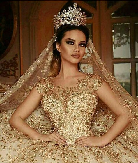 Are you wanting a glamorous wedding dress for your special day? We have a list of several gold glam Wedding dress photos that have stunning look into the design.