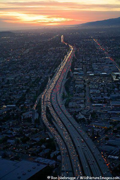 People Drone Photography Santa Monica Freeway Los Angeles Ca