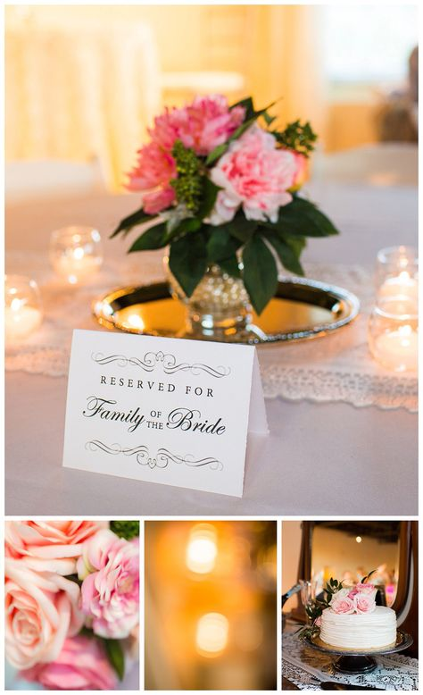 This Southern wedding reception at the Old Bay Marketplace featured lovely pink florals in mercury glass vases set on silver trays. Lace table runners and other antique accents created a classy and romantic atmosphere. Click for more wedding inspiration from this traditional Southern wedding. #weddingtable #weddinginspiration #weddingreceptiontable #weddingflowers #weddingdecor #weddingreceptiondecor #vintagewedding