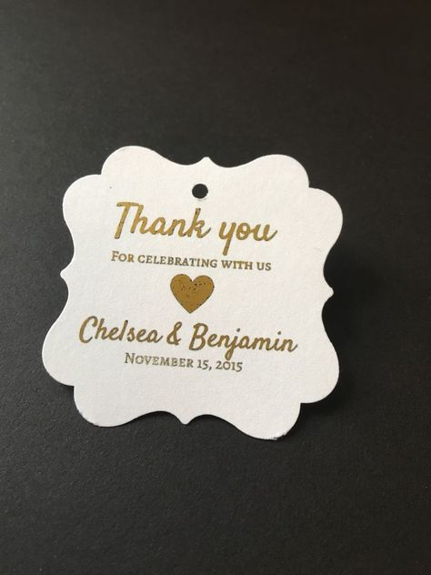 60 Wedding Favor Tags Thank You Gold Foil Personalized | eBay