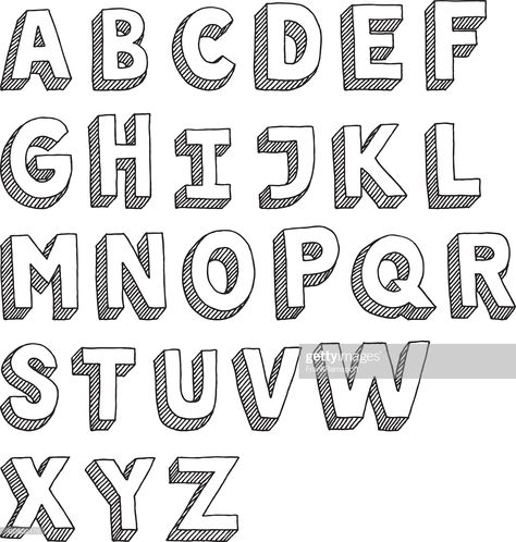 Hand-drawn vector drawing of an Sans Serif Alphabet -Capital Letters....