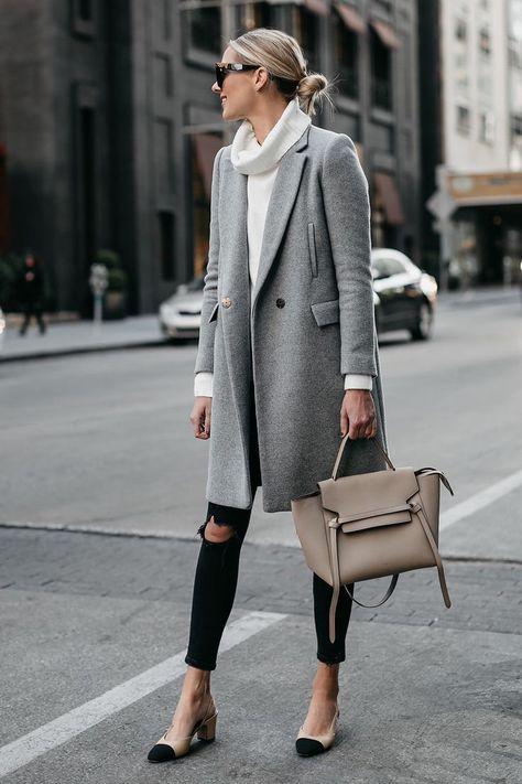 Grey Wool Coat, White Turtleneck Sweater, Black Skinny Jeans, and Chanel Slingbacks