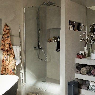 Le Beton Cire Dans La Salle De Bains Leroy Merlin Lighted Bathroom Mirror Bathroom Mirror Bathroom