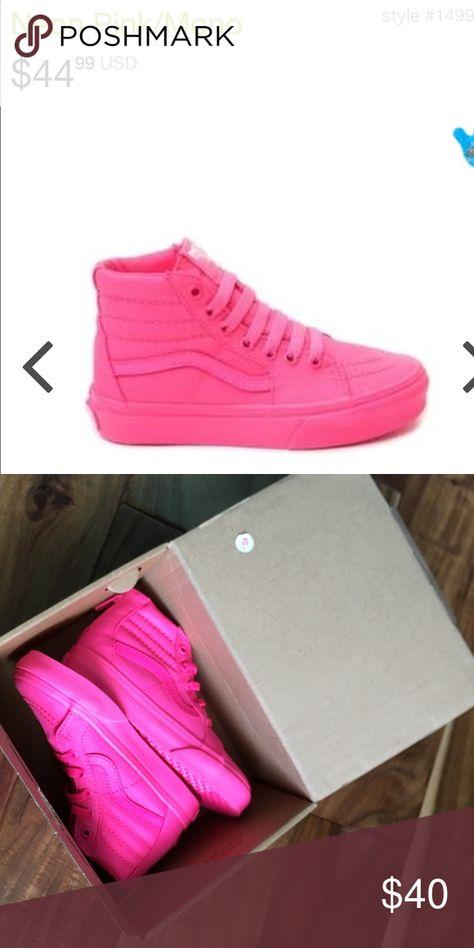 Vans neon pink high tops size 9 girls
