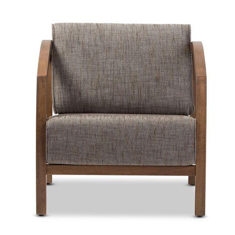 Baxton Studio Velda Gravel Multi Color Fabric Arm Chair