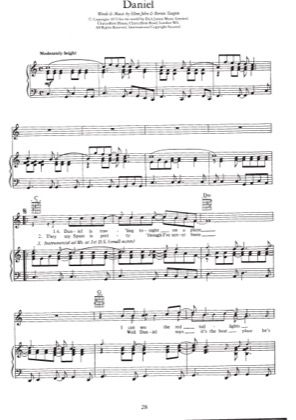 Print And Download For Free Daniel Piano Sheet Music By Elton