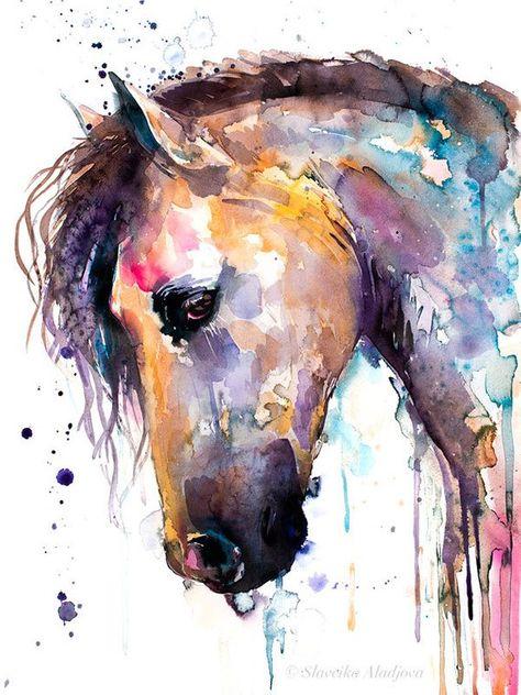 Beautiful Horse watercolor painting print by Slaveika | Etsy