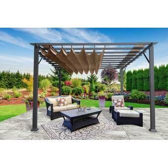 Ansonia 10 W X 10 D Vinyl Pergola With Canopy In 2020 Aluminum Pergola Wood Pergola Pergola