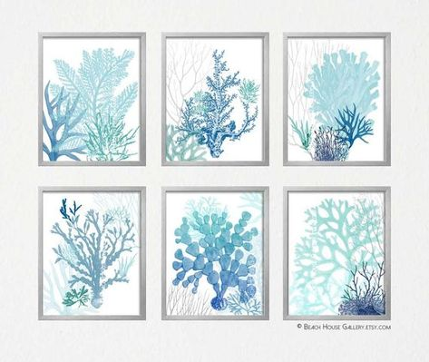 Teal and Blue Wall Art, Beach House Gallery, Coastal Living Room Art, Aqua Turquoise Blue Prints