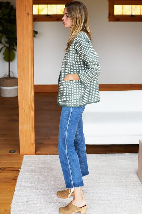 India Quilted Jacket - Moss Gingham