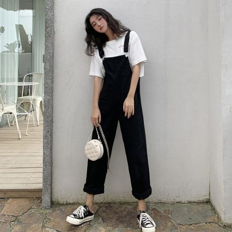 Korean Version Of Woman's Denim Overalls + Thin Sloppy Skirt Girlfriend Skirt Pure Black And Yellow Wild Preppy Style Jumpsuits - L(50-60kg) / China / Black jumpsuit