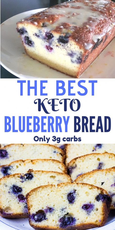 This Keto Blueberry Bread is super flavorful, moist, low carb bread, perfect as a great breakfast or for a quick snack in between meals. This fantastic blueberry bread has the perfect sweetness, it's gluten-free, grain-free and also sugar-free. #KetoRecipes