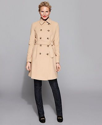 DKNY Petite Coat, Wool Cashmere Blend Belted Trench Coat