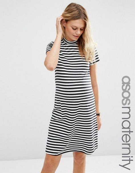 b3c915125f294 ASOS Maternity | ASOS Maternity A Line Shift Dress with High Neck in Stripe  at ASOS