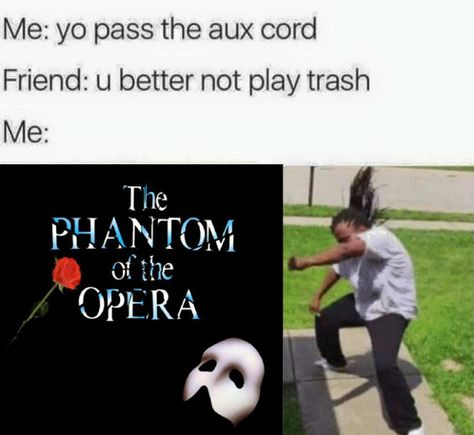 phantom of the opera memes Really Funny Memes, Stupid Funny Memes, Funny Relatable Memes, Funny Stuff, Hilarious, Fandom Memes, Out Of Touch, Theatre Nerds, Music Humor