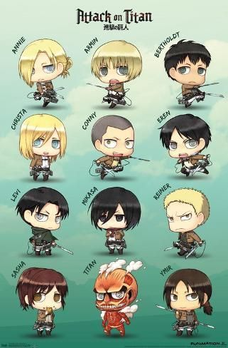 Poster Attack On Titan Chibi Characters 34x22in Chibi Characters Attack On Titan Anime Attack On Titan