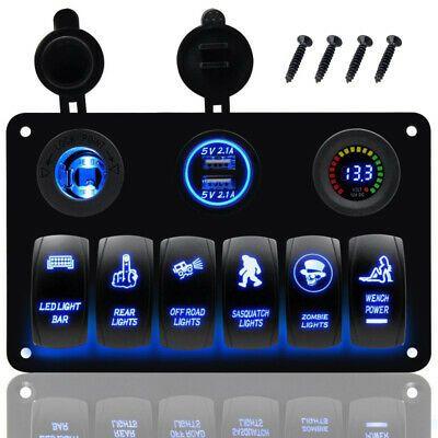 6gang Blue Led Car Marine Boat Bus Rv Rocker Switch Panel Circuit Breaker 12 24v Waterproof Car Rocker Jeep Xj
