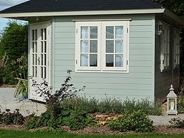 Pretty Painted Summerhouse Summerhouses Pinterest Garden Office Log Cabins And Gazebo