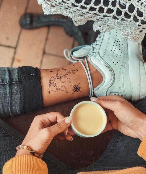 Carte du monde tatouage temporaire / tatouage flash avion / tatouage du poignet pour les voyageurs ... - Kochen - #