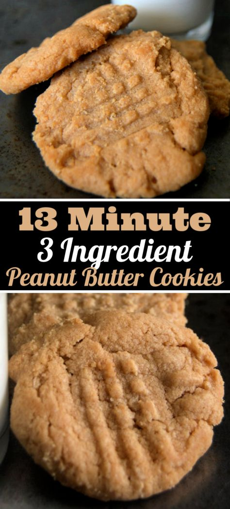 The 13 Minute and 3 Ingredient Peanut Butter Cookies are not your typical peanut butter cookie because theyre made with only three ingredients and are ready in just 13 minutes! Theyre the perfect thing to make when you need something sweet t Easy Peanut Butter Cookies, Yummy Cookies, Cookie Butter, Quick Cookies, Peanutbutter Cookies Easy, Easy Peanut Butter Recipes, School Cookies Recipe, Easy To Make Cookies, Peanut Butter Snacks