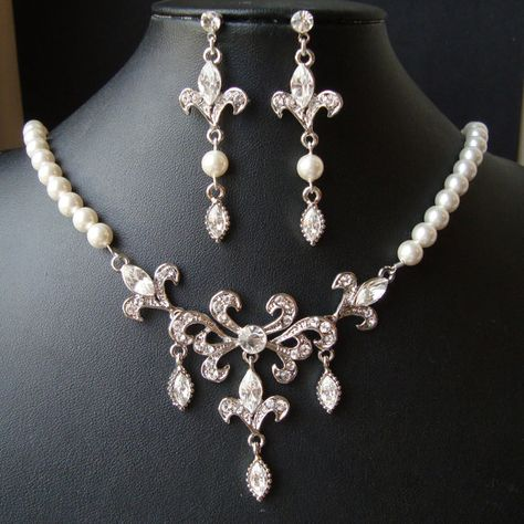 Bridal Jewelry SET, Wedding Necklace & Earrings Set, Fleur De Lis Wedding Jewelry, Vintage Bridal Jewelry, IREESE on Etsy, $136.00