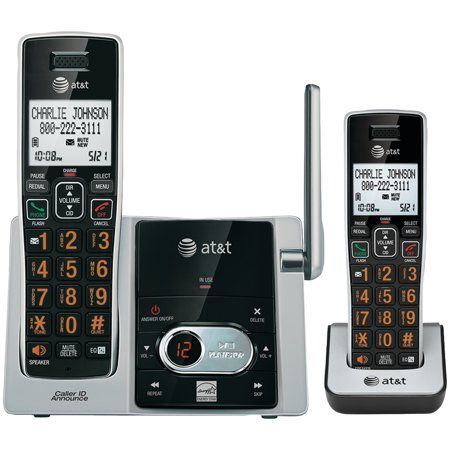 At T Attcl82213 Cordless Answering System With Caller Id Call Waiting 2 Handset System Caller Id Cordless Telephone Phone