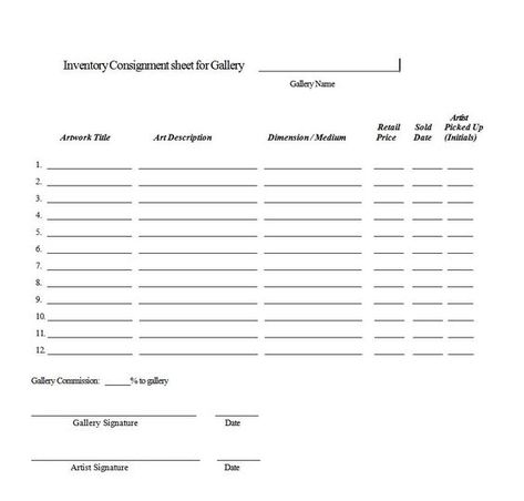 Consignment Agreement Form Templates Excel Template Consignment Contract Template Commission Artist