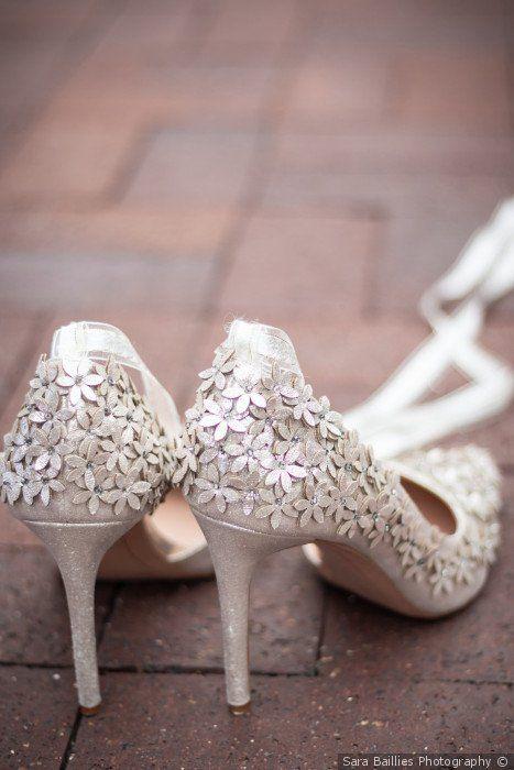 Bride Wedding Shoes Flower Embellishments Wedding Shoe Inspiration Sara Baillies Photography Casual Wedding Shoes Cheap Wedding Shoes Wedding Shoes