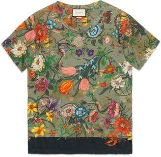 1fbb0e2608e Gucci Flora Snake print linen T-shirt