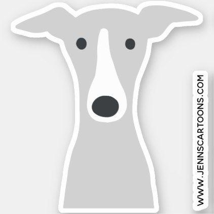Italian Greyhound Or Whippet Cute Cartoon Dog Face Sticker Zazzle Com Cartoon Dog Dog Face Whippet