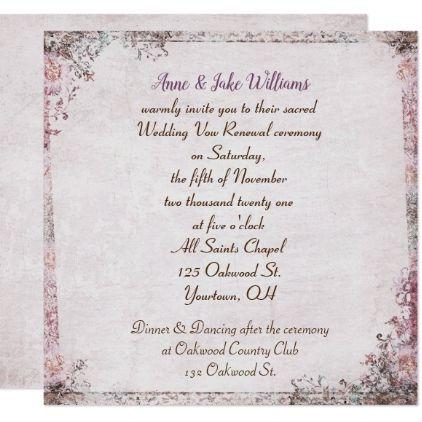Wedding Vow Renewal Old Fashioned Fl Border Card Weddinginvitations Invitations Party Cards Invitation Vintage