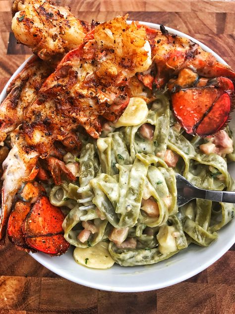 Garlic pancetta pasta with grilled lobster dariuscooks. Lobster Recipes, Seafood Recipes, Pasta Recipes, Seafood Pasta, Seafood Dinner, Lobster Pasta, Lobster Tails, Grilling Recipes, Cooking Recipes