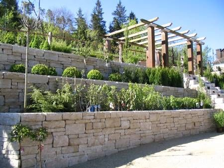 Mauer im Garten Garten Pinterest Gärten, Gartenideen und - garten am hang anlegen