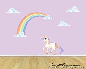 PVC Rainbow Wall Sticker Transfer von Decal Dekoration des Zimmers Weiße Sterne