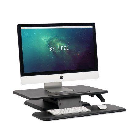 Belleze Sit Stand Desk Converter Ergonomic Height Adjustable Tabletop Standing Desk Gas Spring Monitor Riser Walmart Com Adjustable Height Desk Compact Desks Adjustable Standing Desk