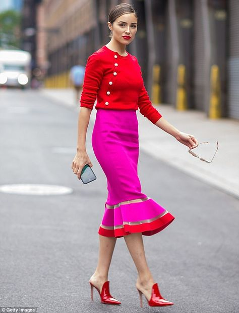 Whole outfit. Those shoes though!, amazing fuchsia pink pencil skirt with ruffle bottom and red trim, fuchsia pink and red outfit on Olivia Culpo