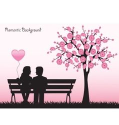Dating Couple Silhouette Under Love Tree Vector Image