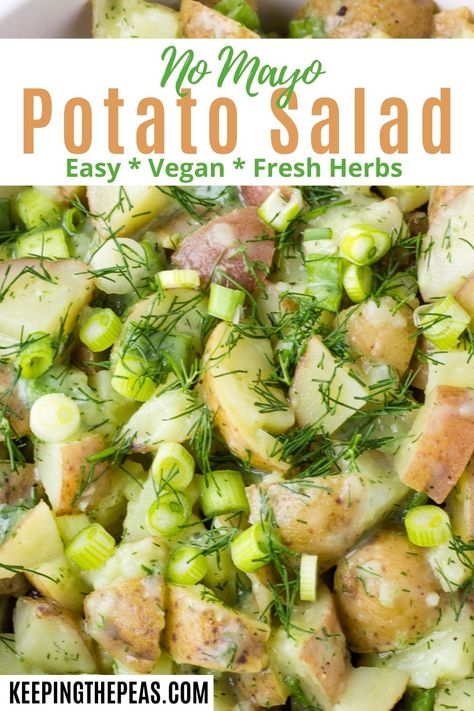This no mayo potato salad is big on flavor, without the need for mayonnaise. It's seasoned with fresh herbs, scallions, and spices, with a creamy yogurt dressing!