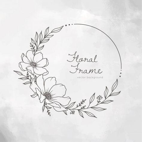 Hand drawn floral frame wreath on white ...   Premium Vector #Freepik #vector #flower #frame #floral #card